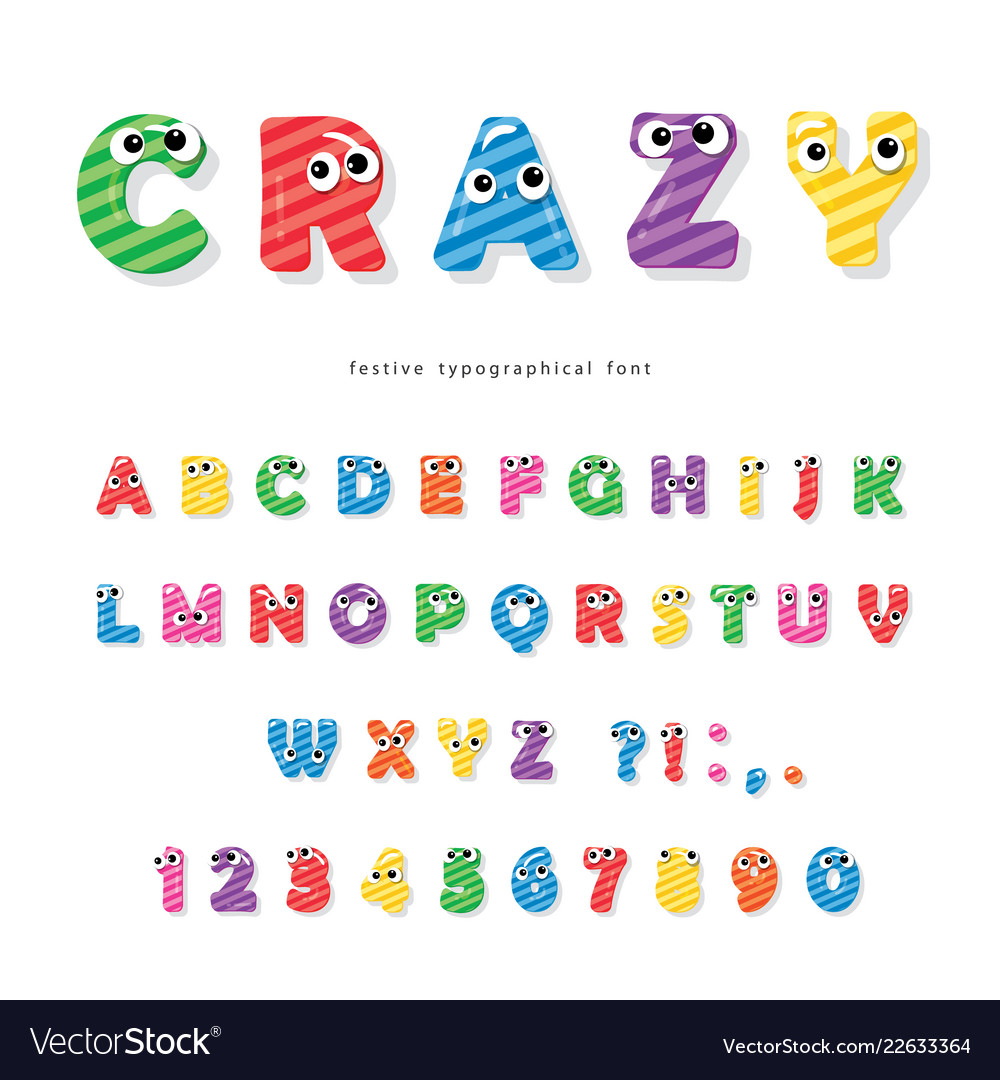 Funny kids font with eyes cartoon glossy colorful
