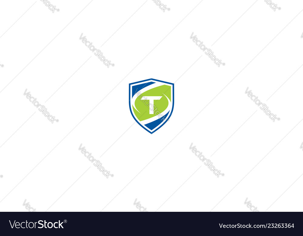 Initial t shield logo icon technology