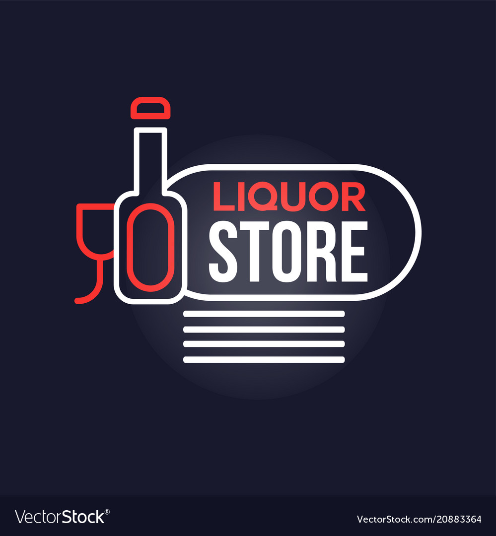 Liquor store neon sign vintage bright glowing
