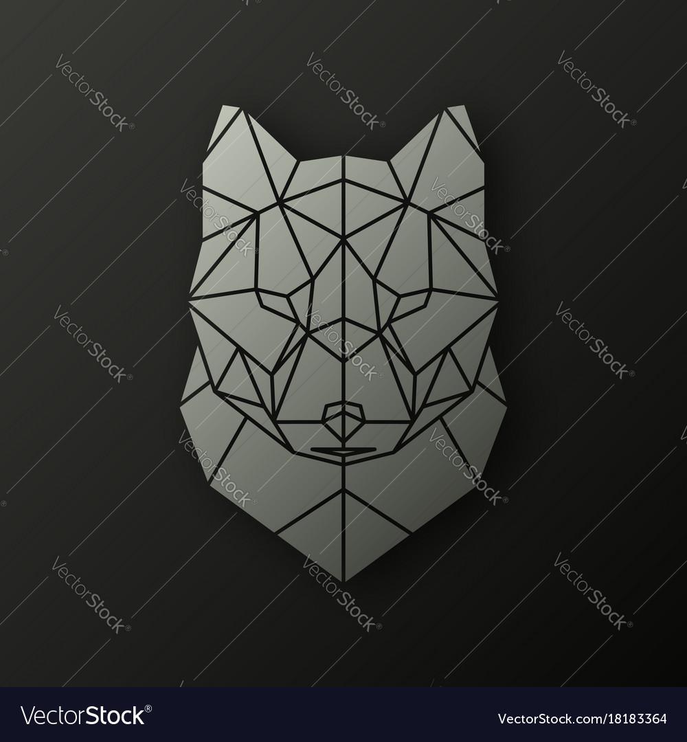 Polygonal head of a wolf