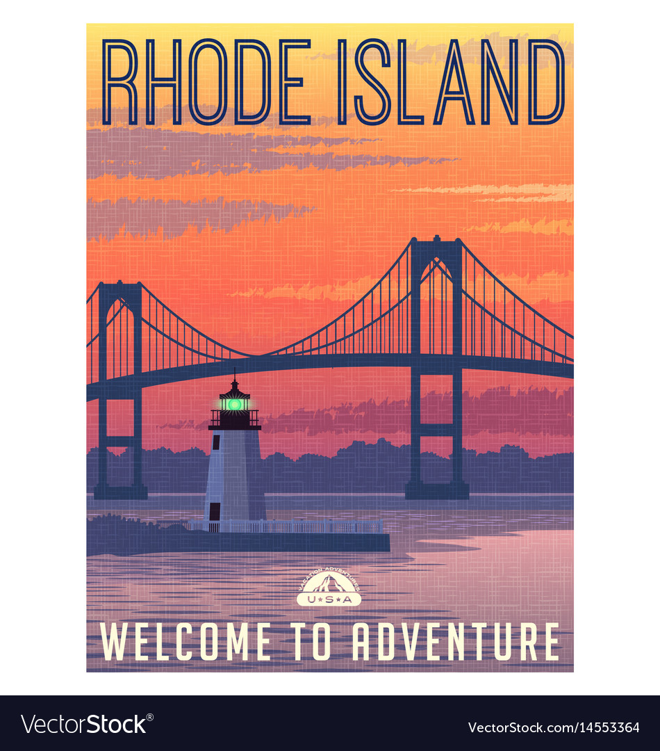 Rhode island newport bridge travel poster