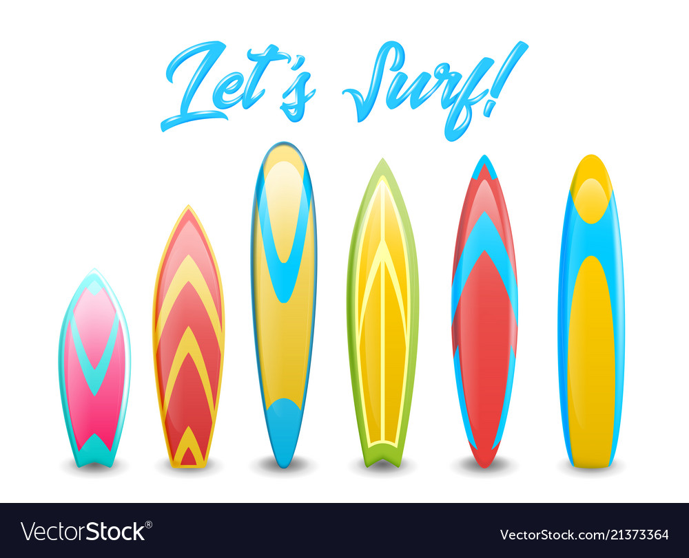 Set of different colorful and decorated surfboards