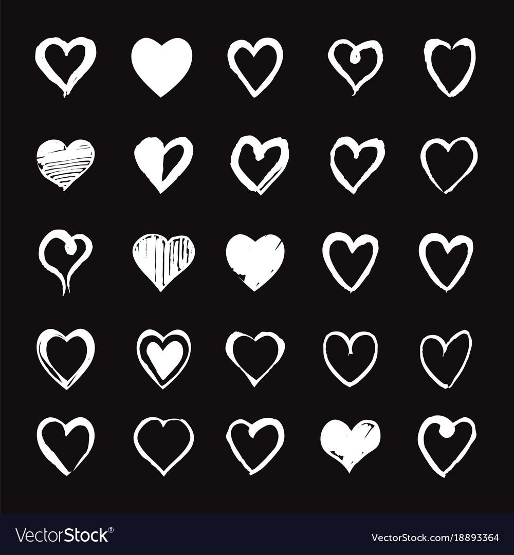 Set of white hand drawn hearts design elements