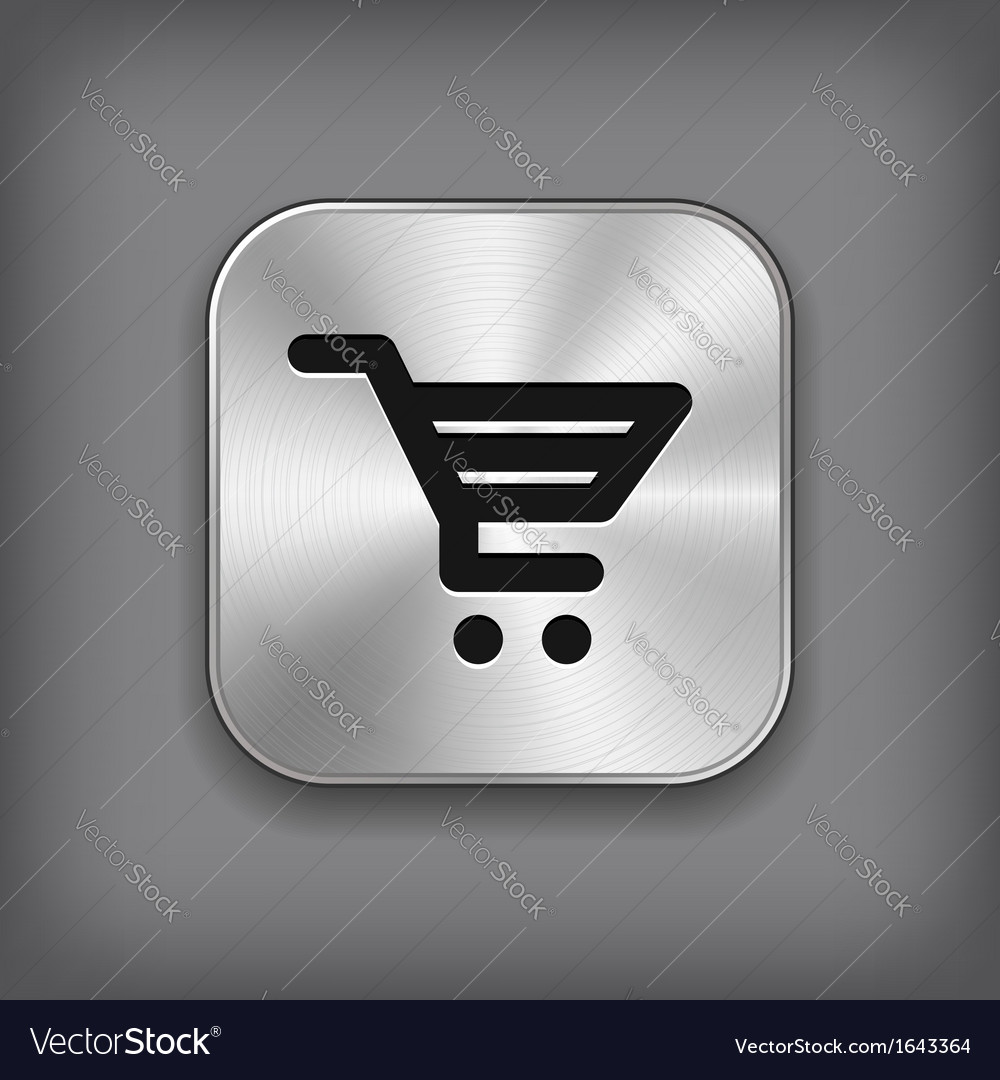 Shop cart icon - metal app button