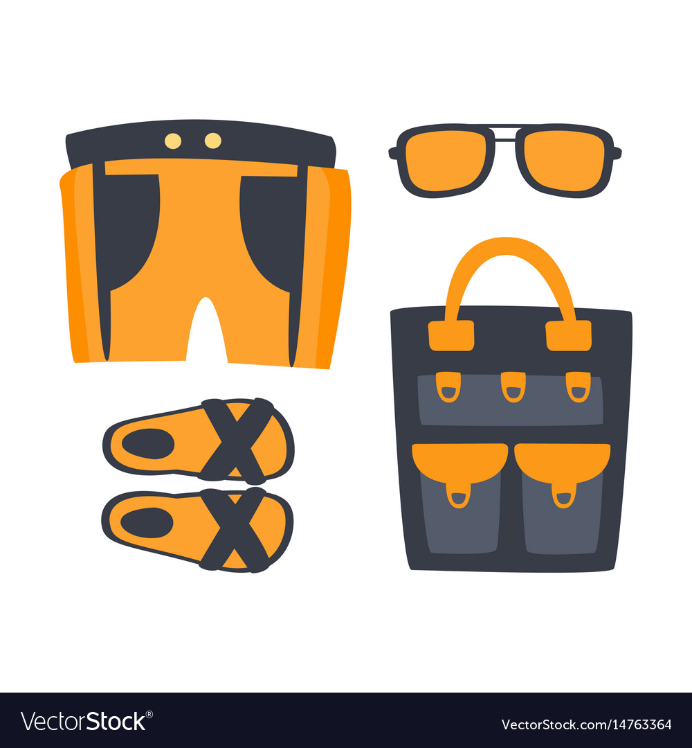 Slippers shorts sun glasses and bag in orange