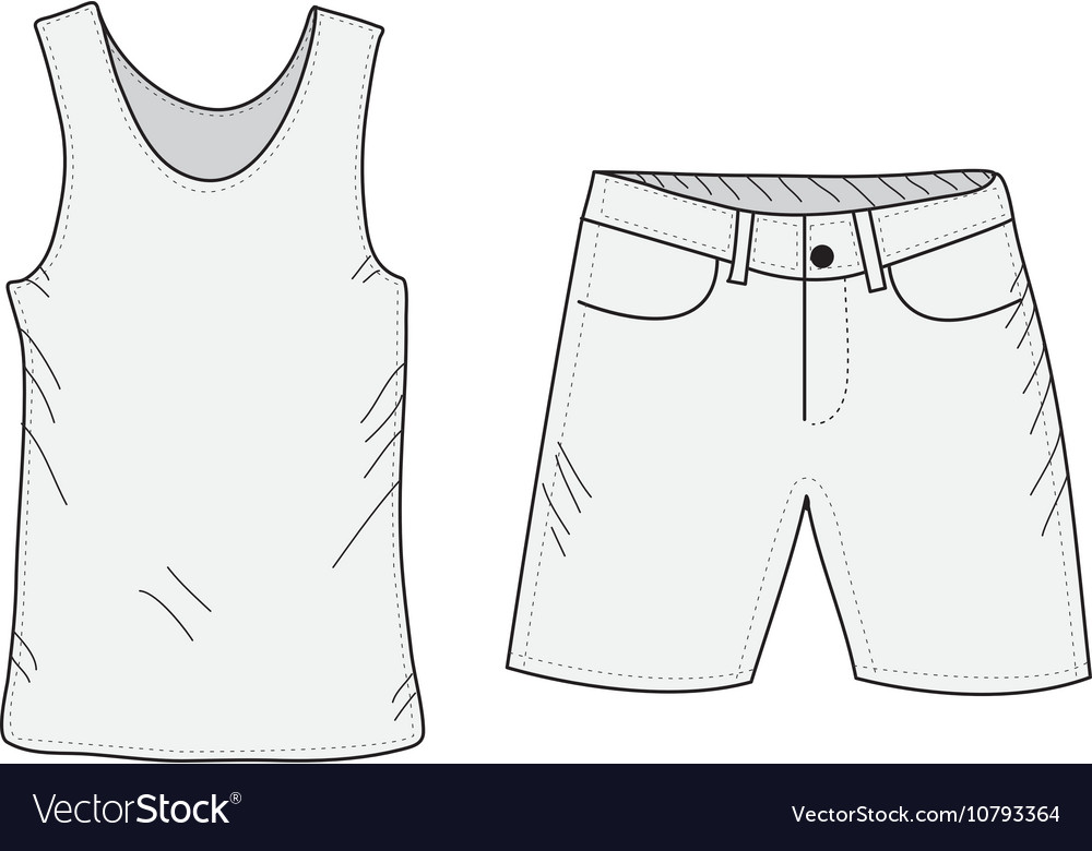 T-shirt and shorts sketch set