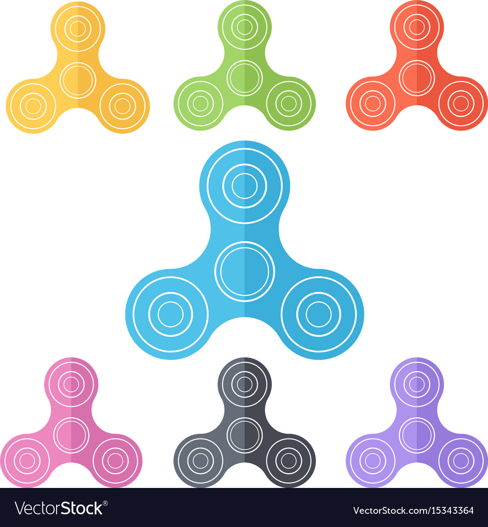 Toy fidget spinner or hand spinner multicolored