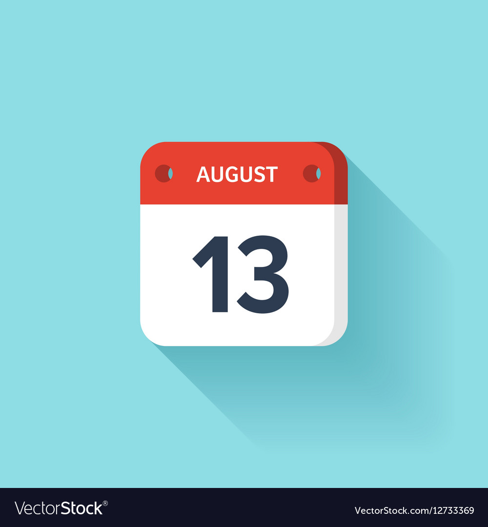 August 13 Isometric Calendar Icon With Shadow
