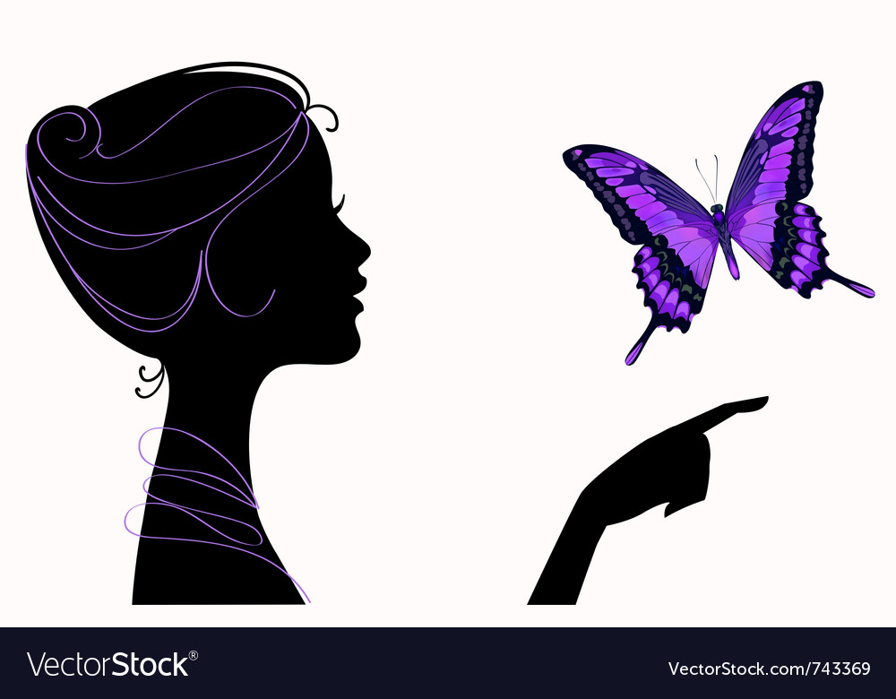 Beautiful girl silhouette with butterfly vector image