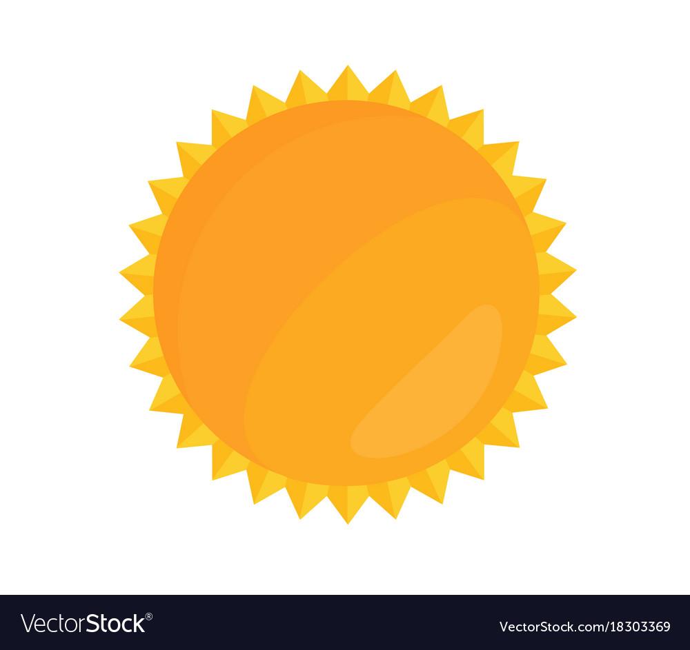 Cartoon bright sun in flat