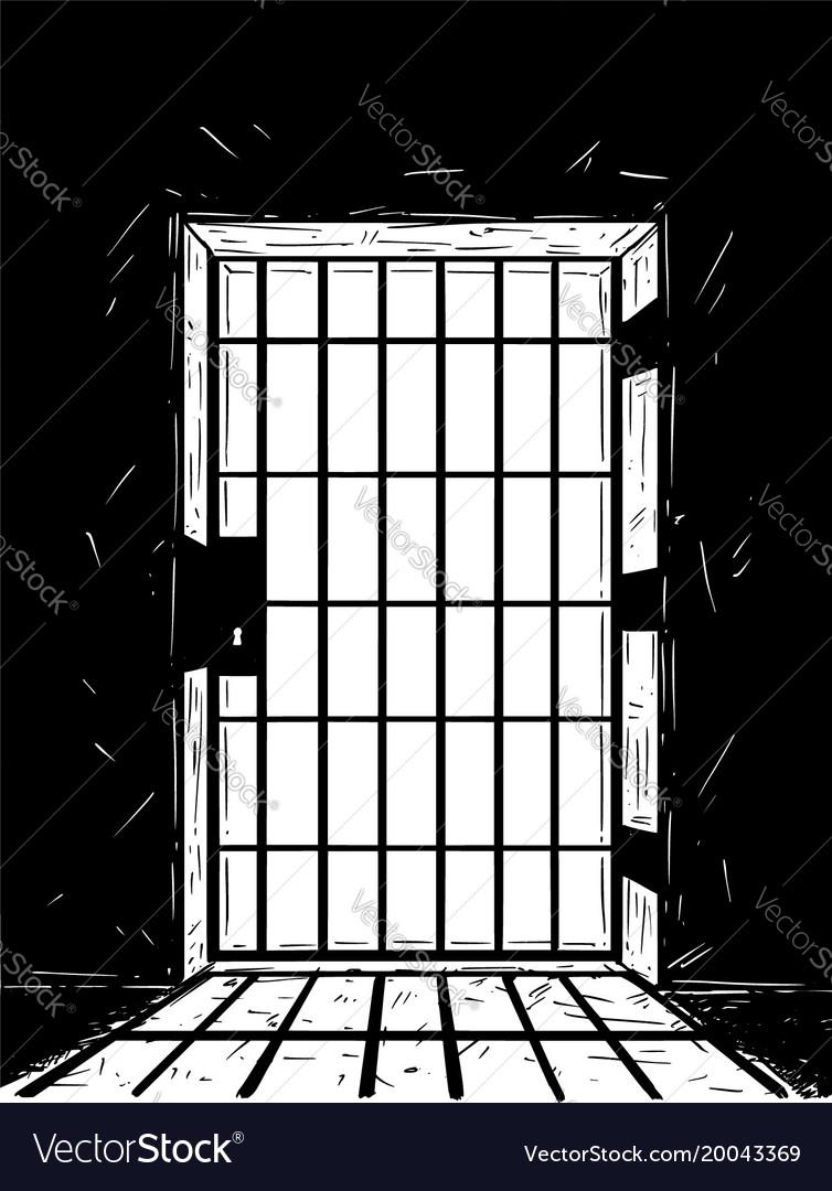 & Cartoon drawing of prison door casting shadow Vector Image