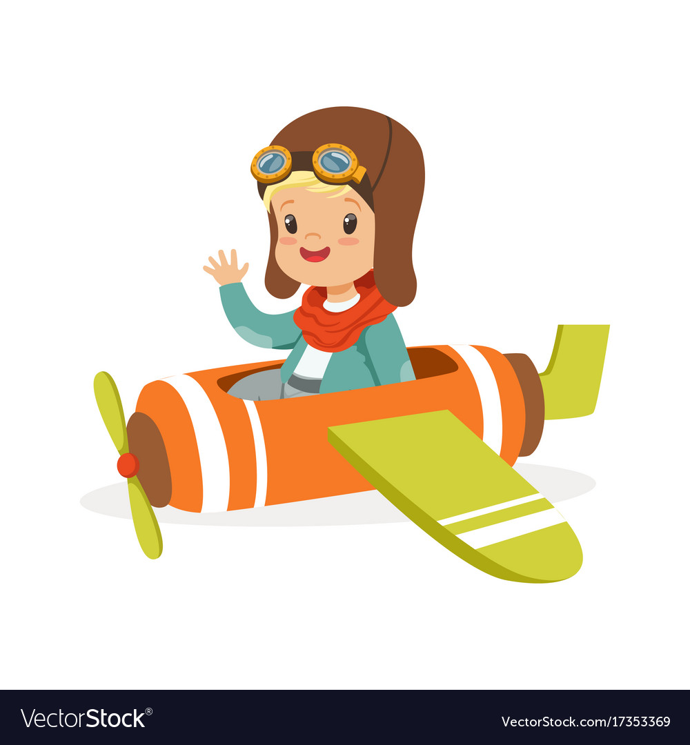 3231aa1bac Cute little boy in pilot costume flying toy plane Vector Image