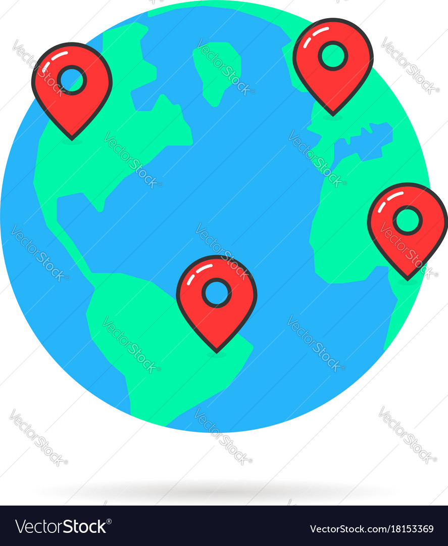 Earth globus with map pins