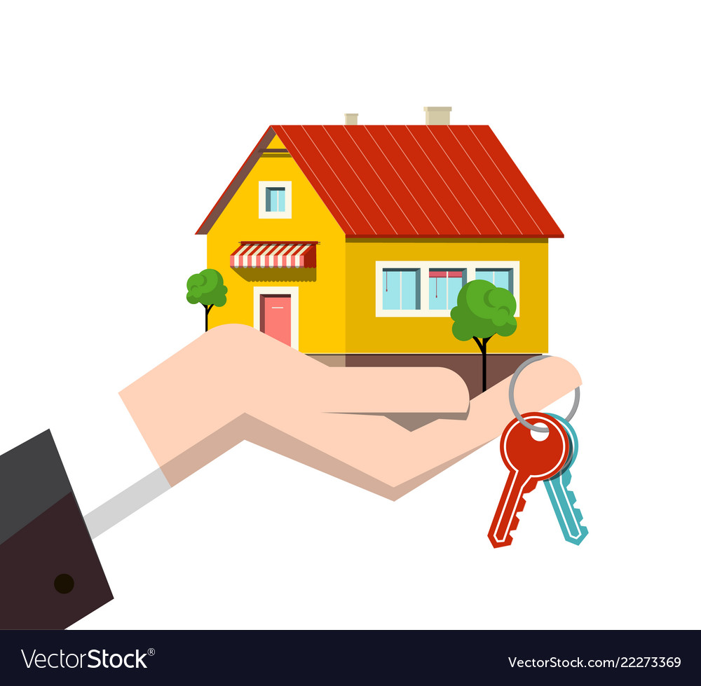 Family house icon in human hand with keys