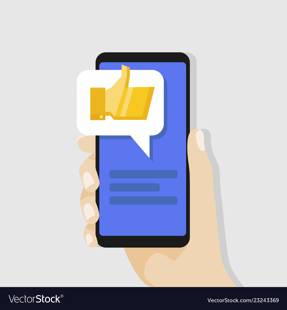 Hand holding smartphone with golden thumbs