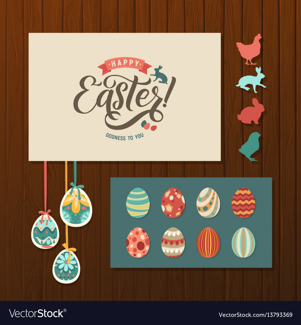 Happy easter calligraphy greeting card set hand