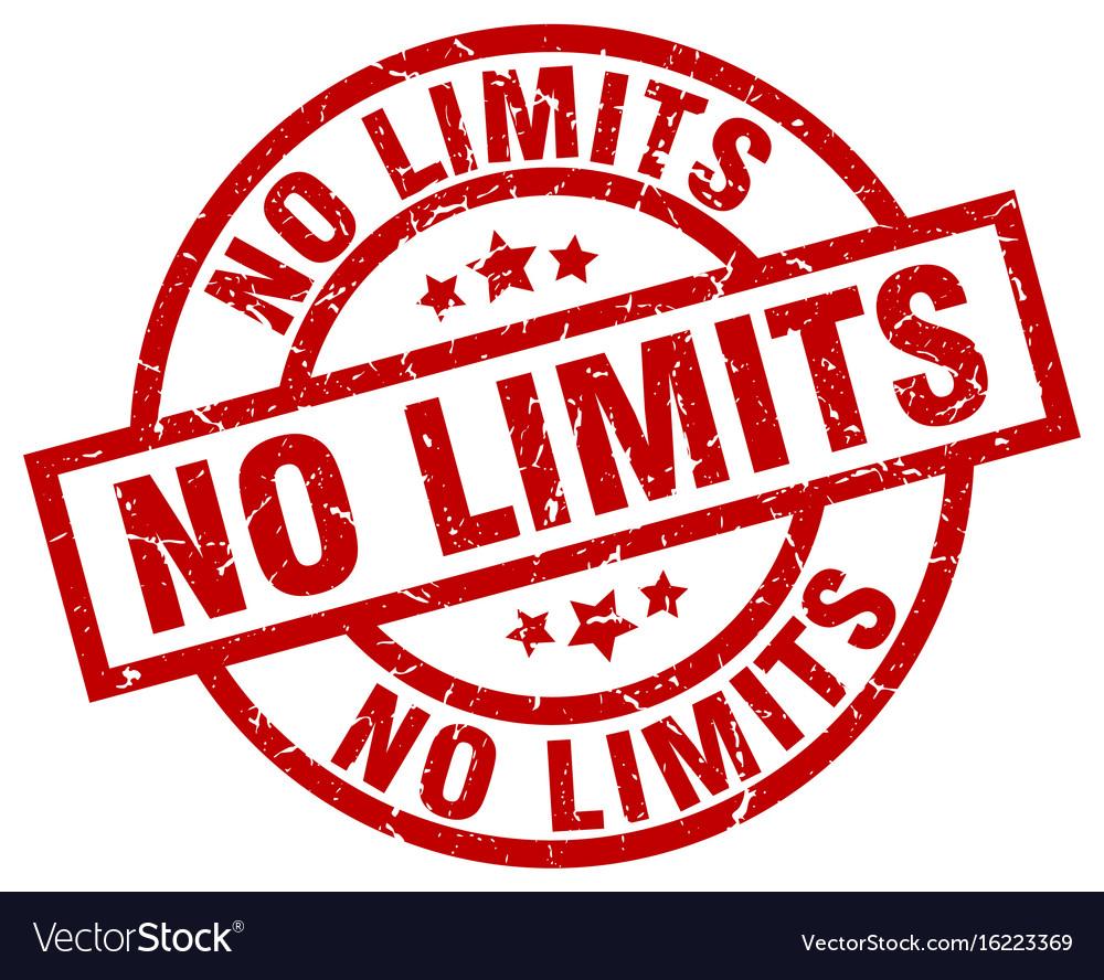 No limits round red grunge stamp