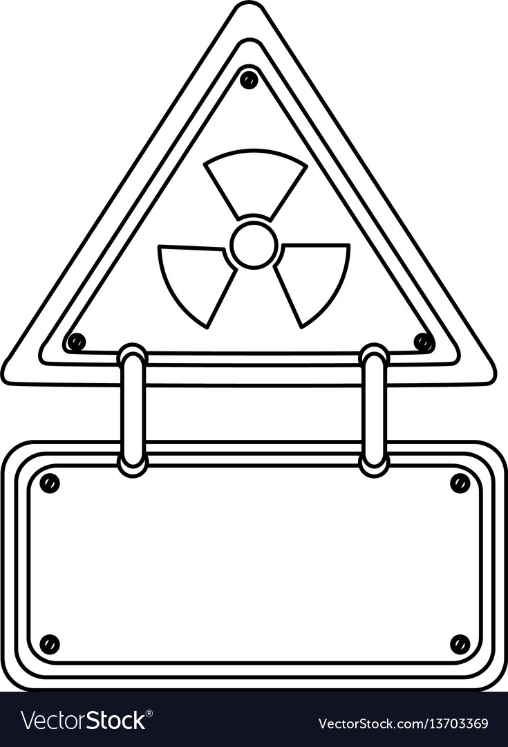 Silhouette metal emblem warning radiation notice vector image