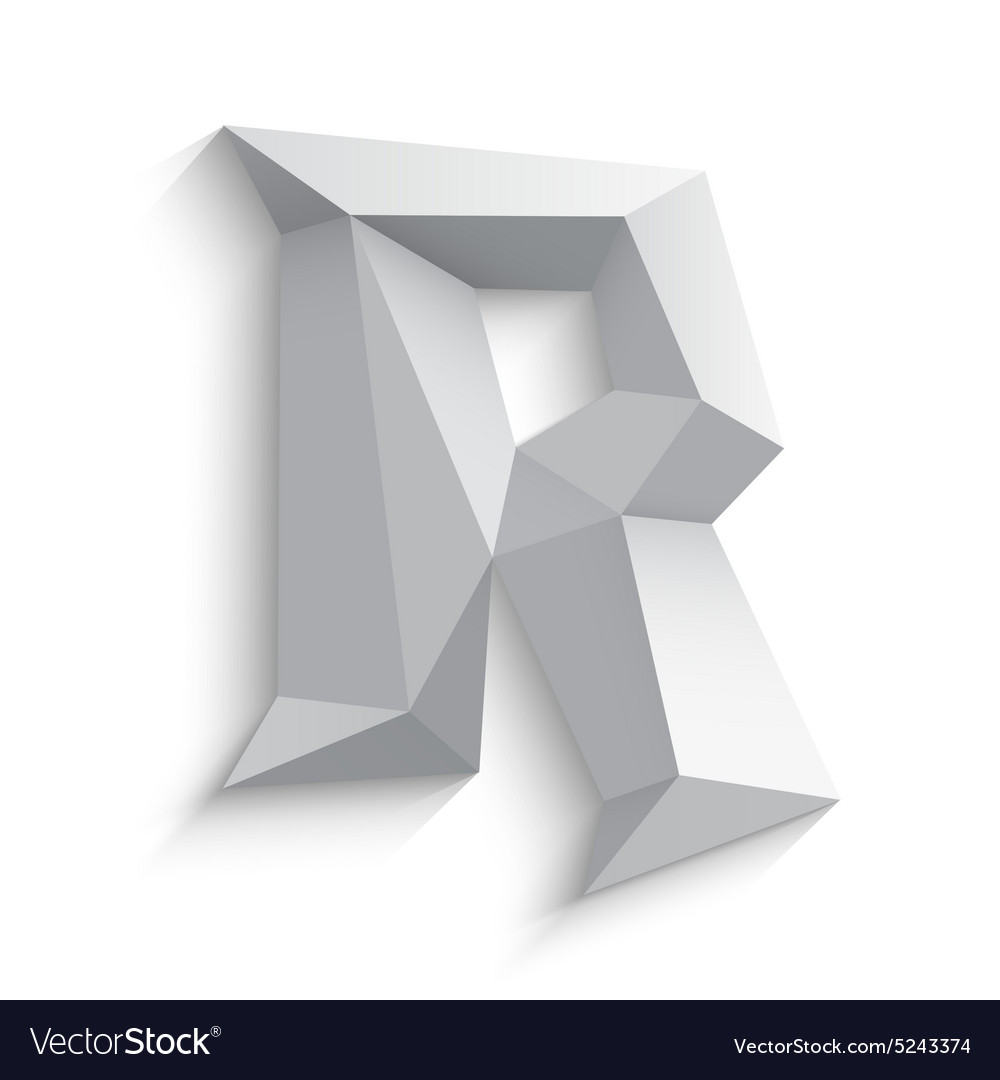 3d letter R on white Royalty Free Vector Image