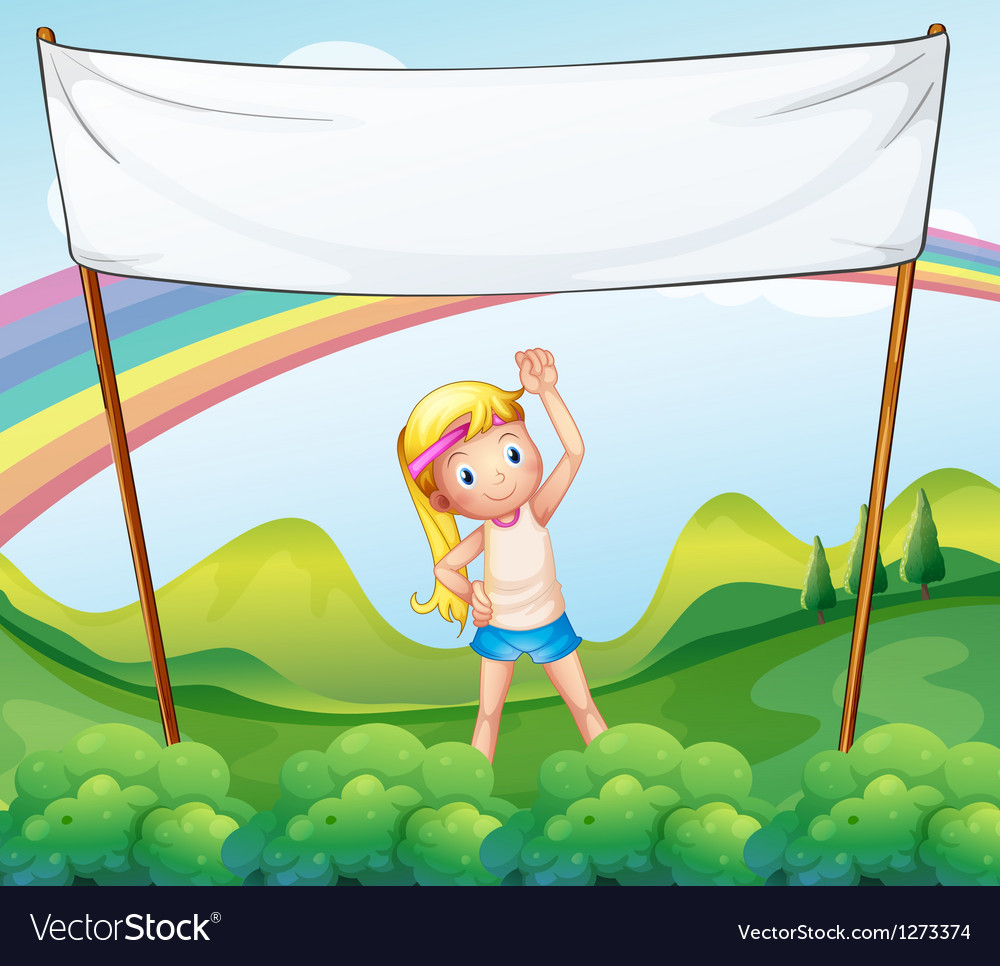 A girl exercising in front of the empty banner vector image