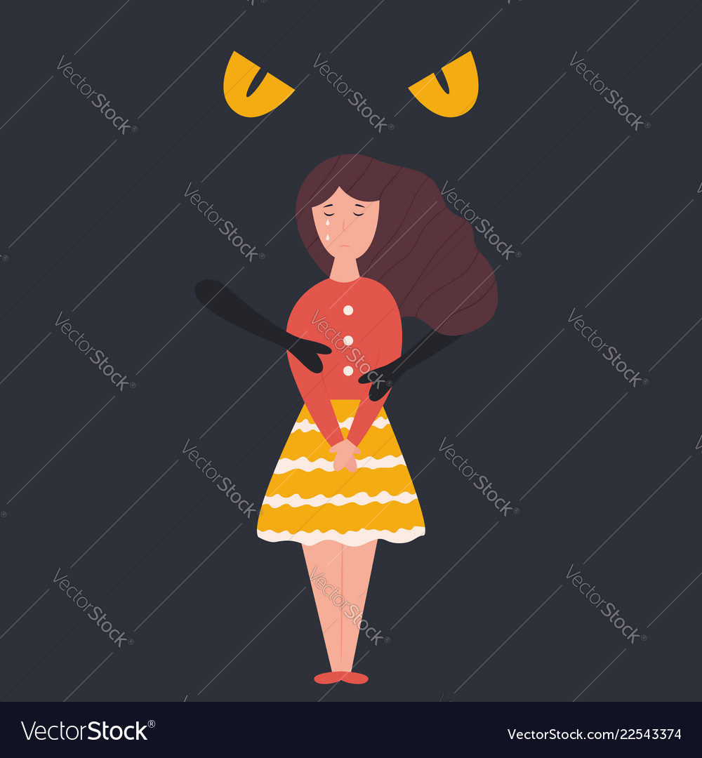 Abstract Dark Depression Hugging Unhappy Sad Girl Vector Image