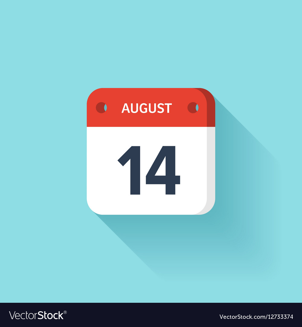 August 14 Isometric Calendar Icon With Shadow