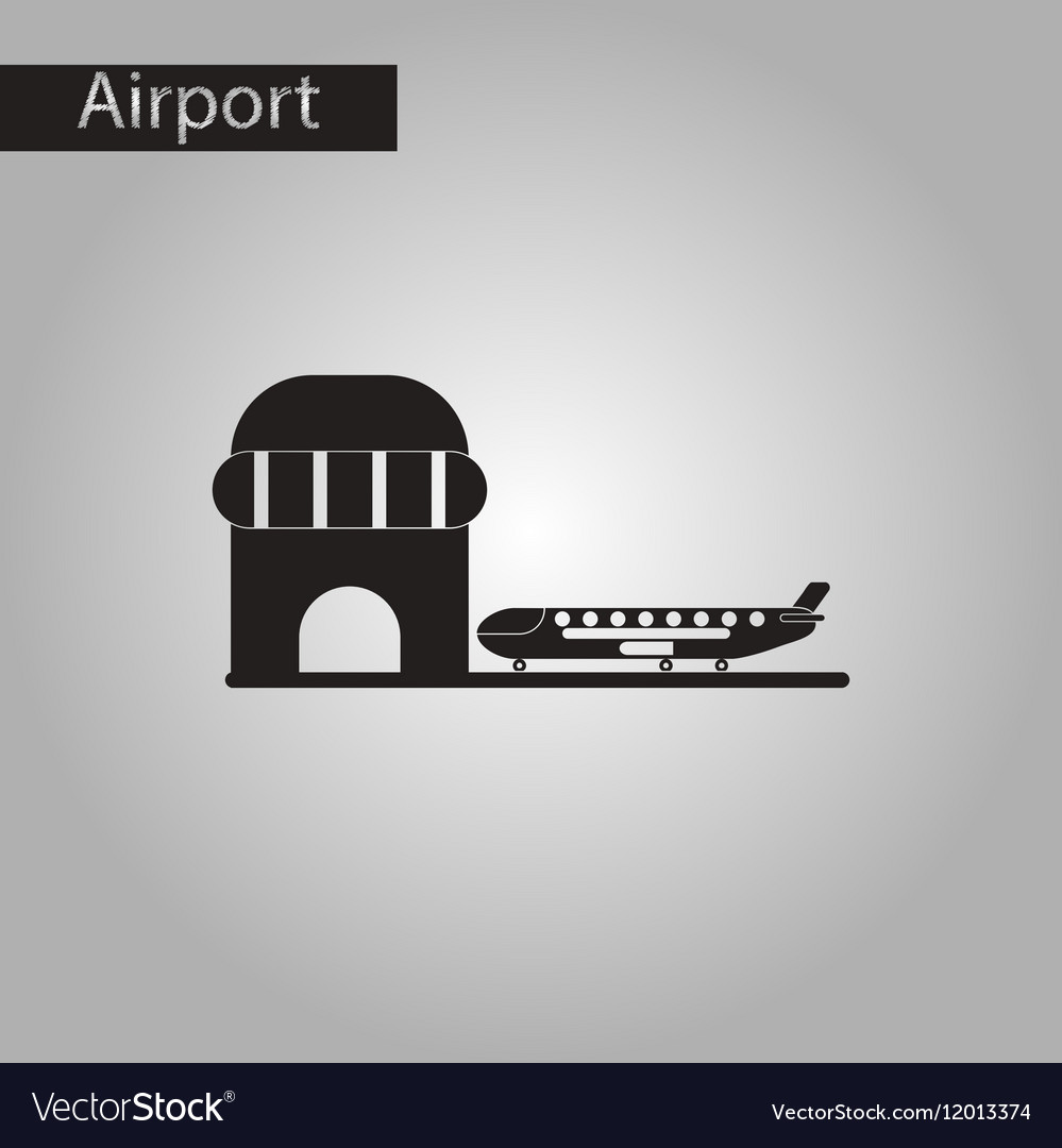 Black and white style icon airplane airport