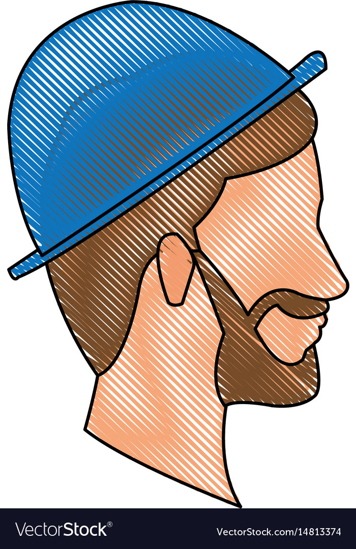 Drawing bearded head man profile with blue hat