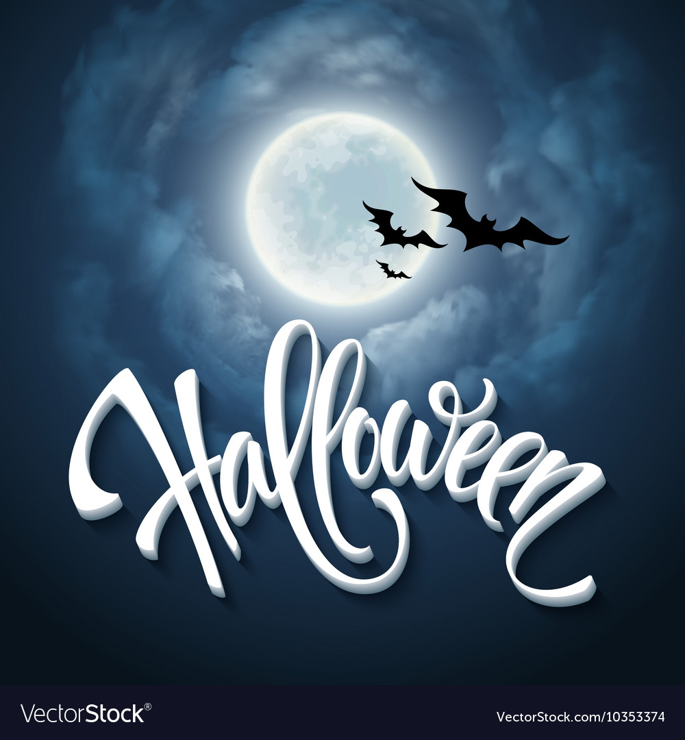 Halloween design with full moon with blue sky vector