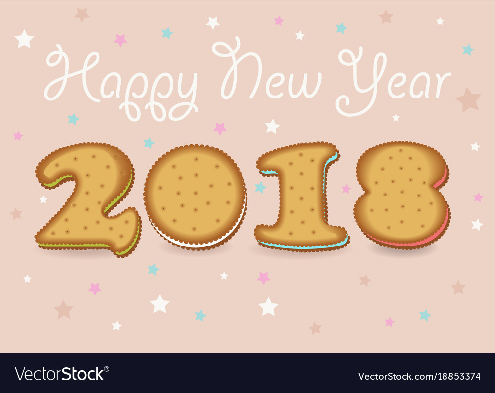 happy new year 2018 sweet cookies font vector image