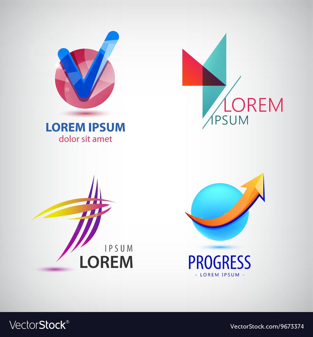 Set of abstract logos progress arrow grow vector image