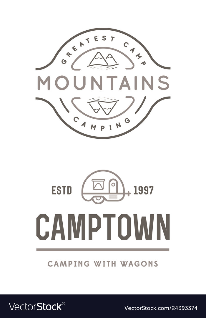 Set of summer camp badges with design element