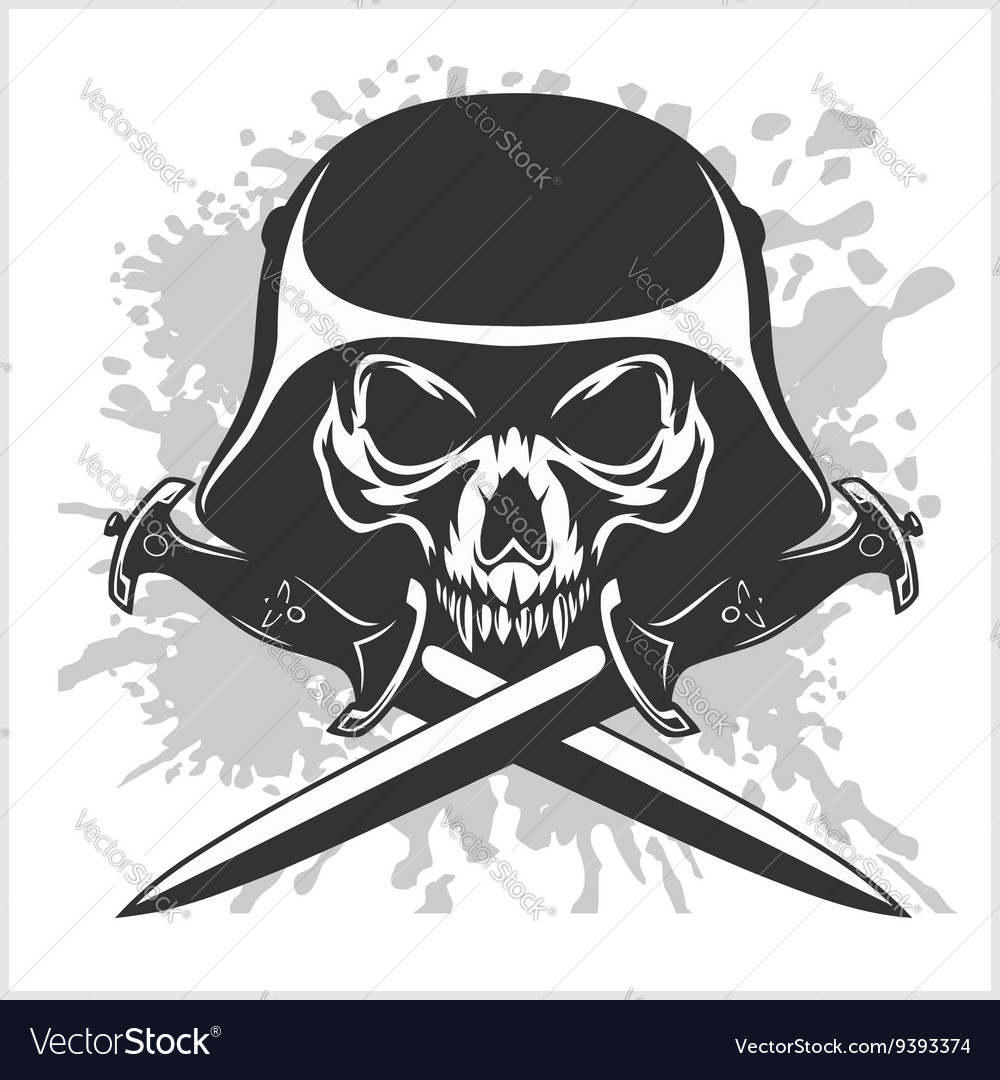 Skull and cross swords vector image