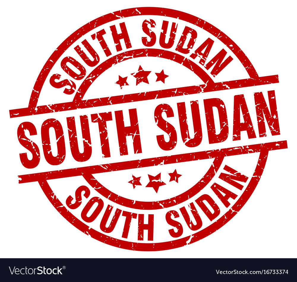 South sudan red round grunge stamp