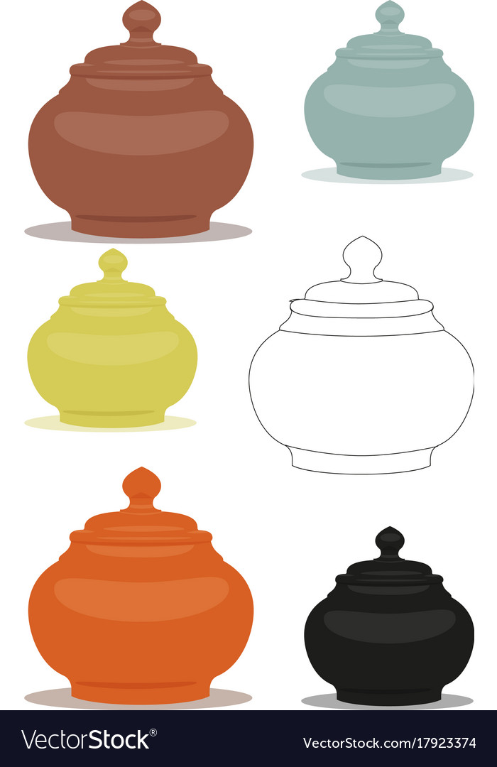 Sugar bowl of different cly types set