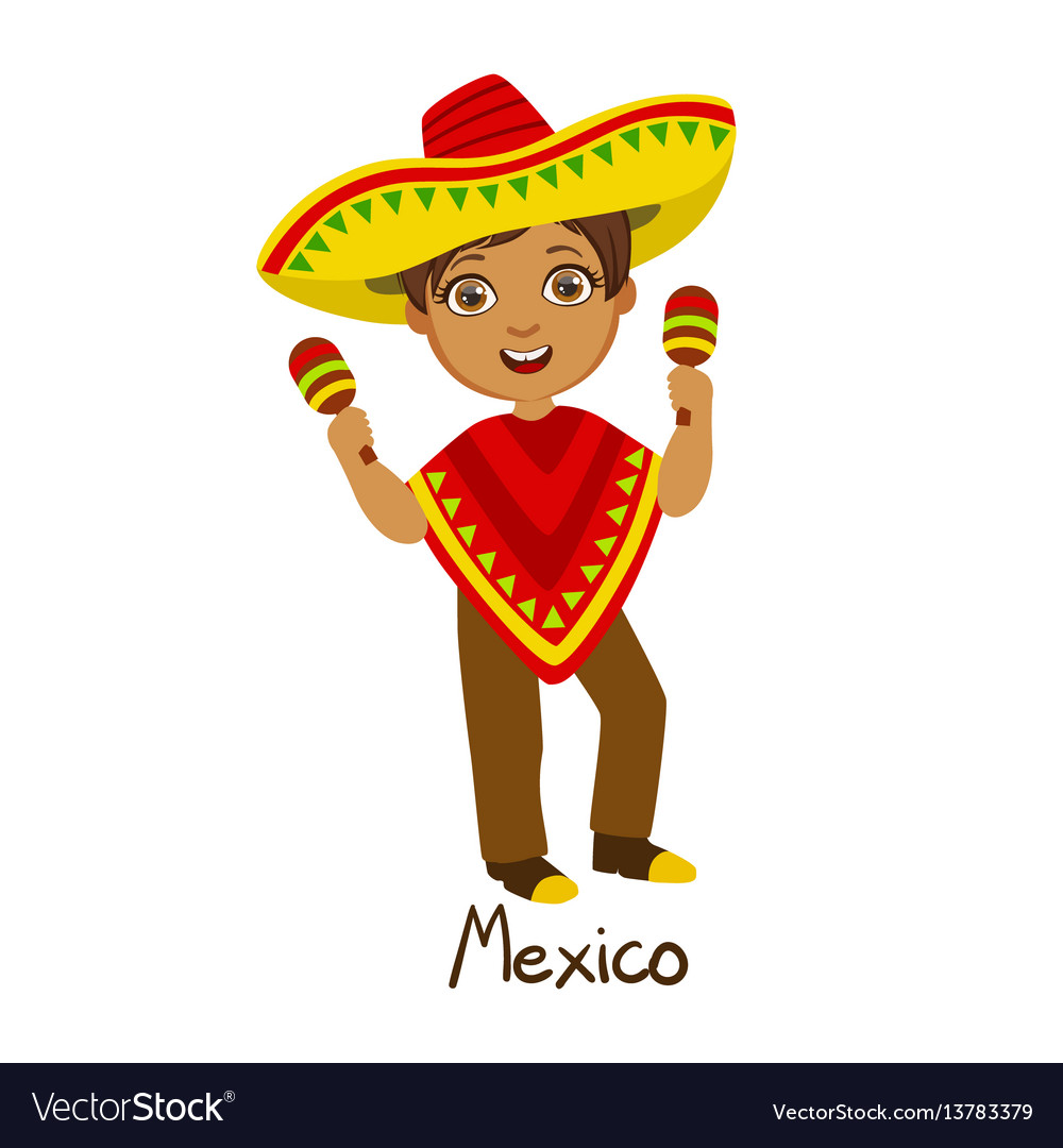 Boy in mexico country national clothes wearing vector image