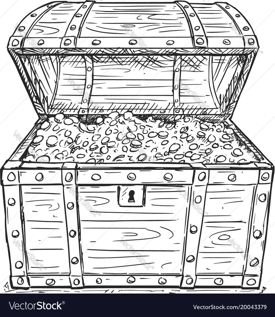 cartoon drawing of old open pirate treasure chest vector image