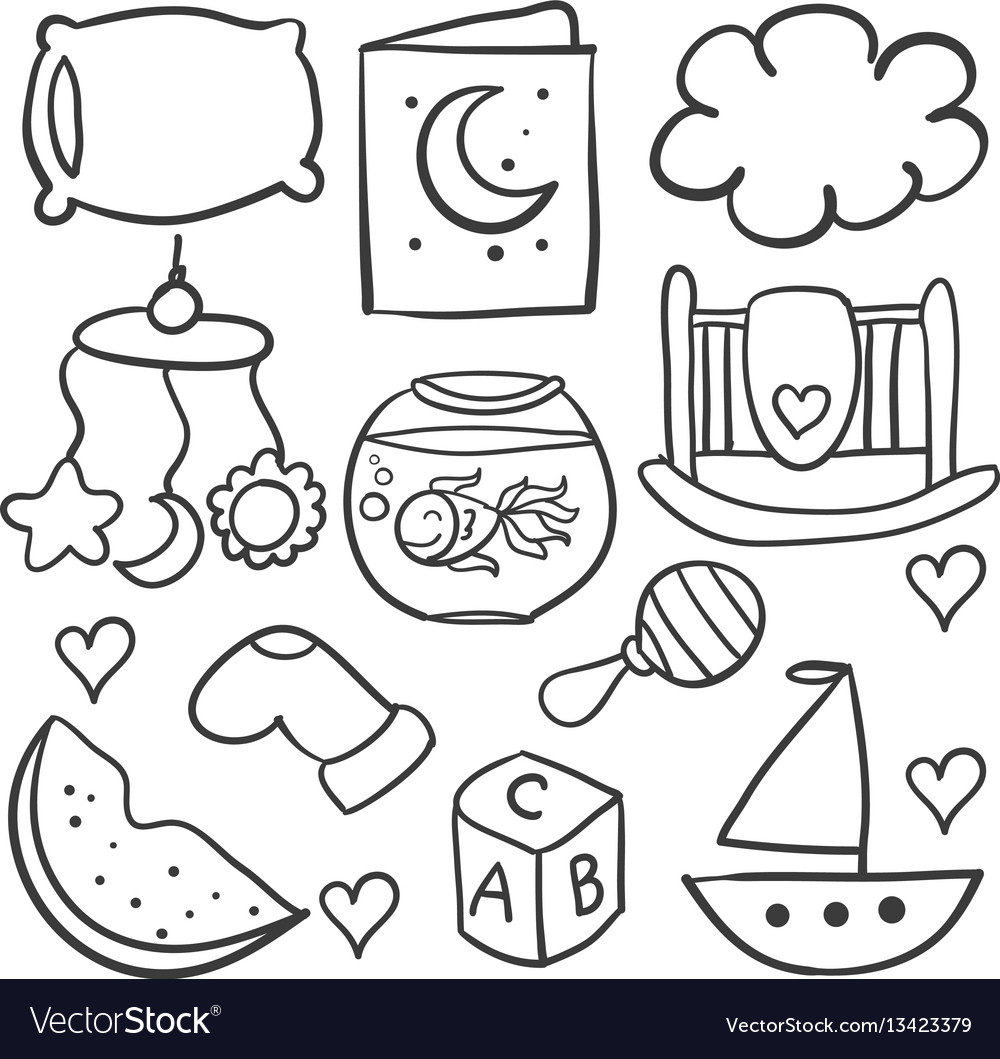 Doodle of baby with toy object vector image