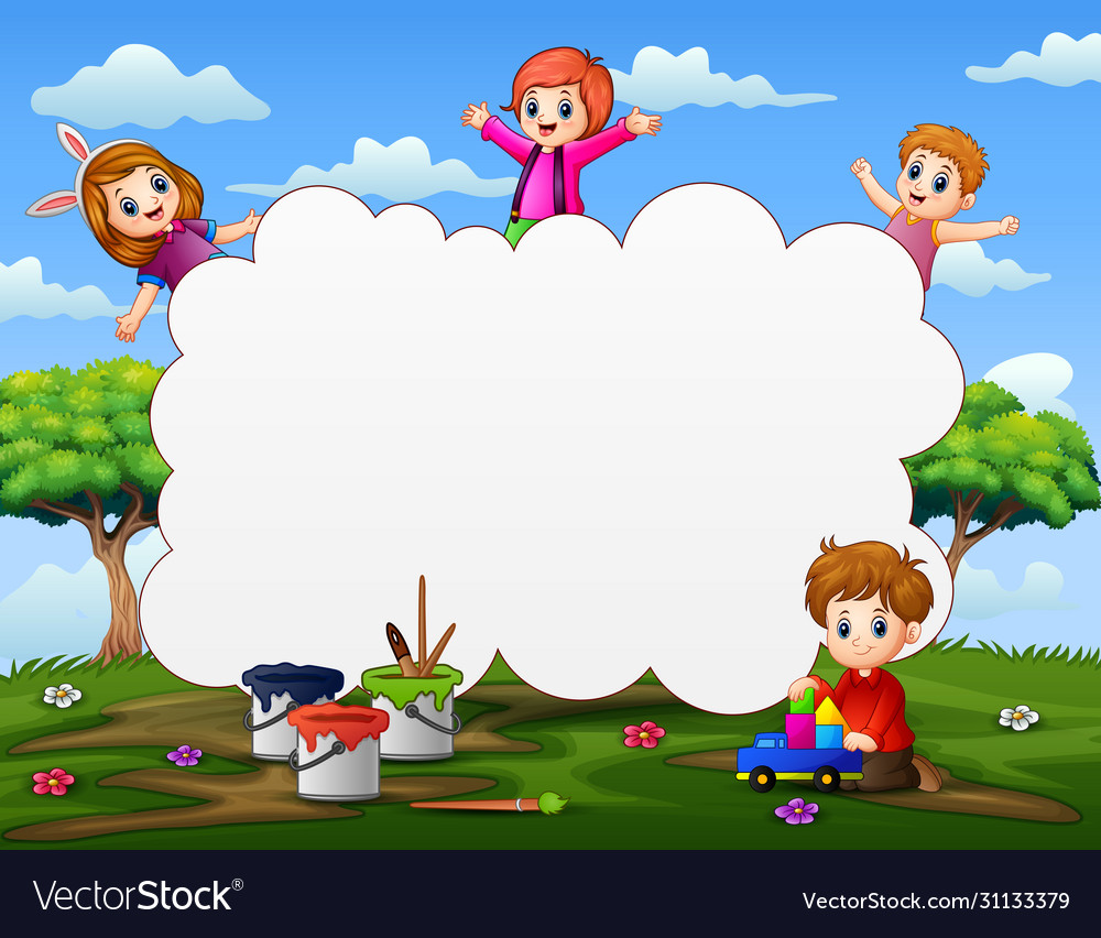 frame template with happy kids playing on nature vector image vectorstock