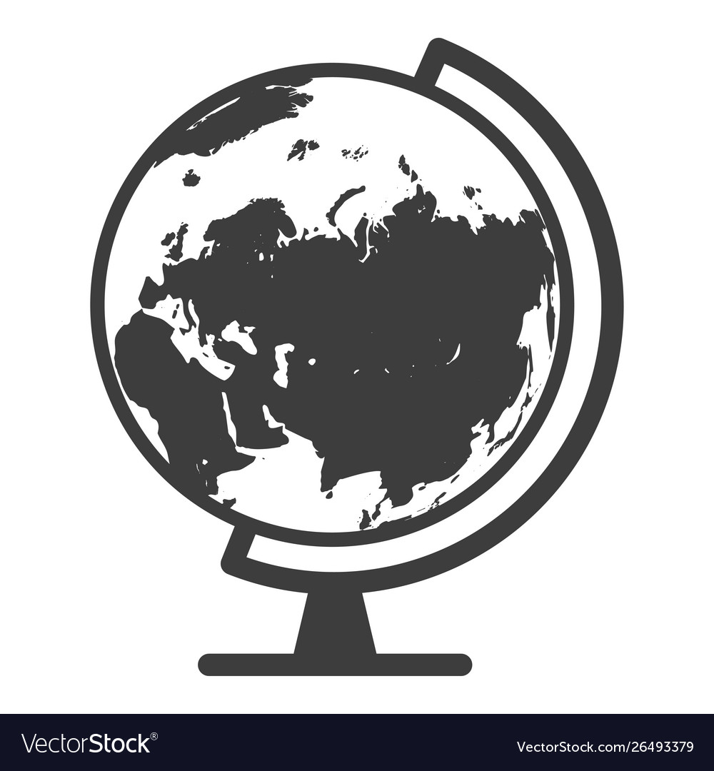 Globe black icon geography and travel concept