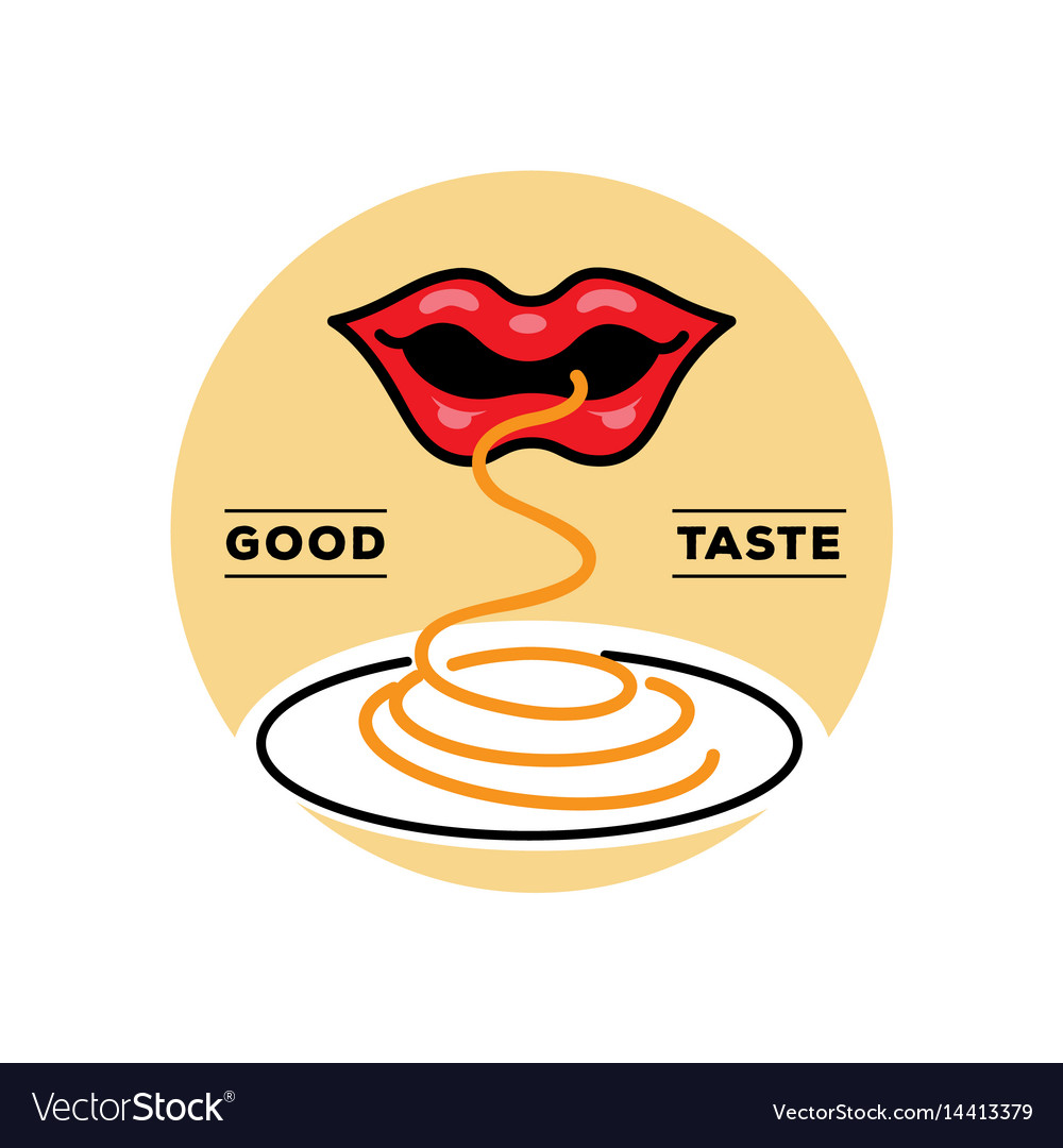 Good taste spaghetti logo with mouth vector image