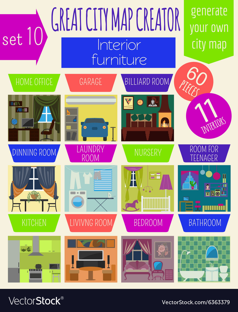 Great city map creator House constructorInteriors Vector Image on