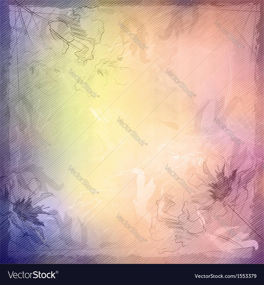Grunge vintage sketch flowers background vector image