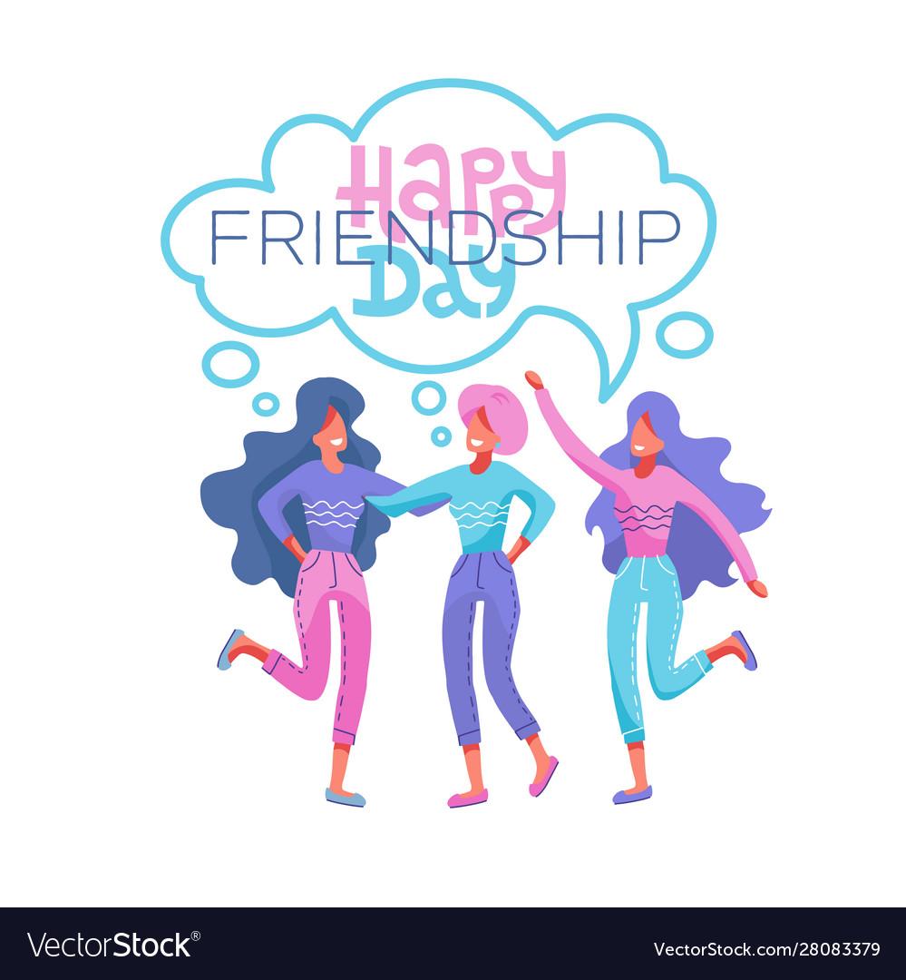 Happy friendship day greeting card tree girls