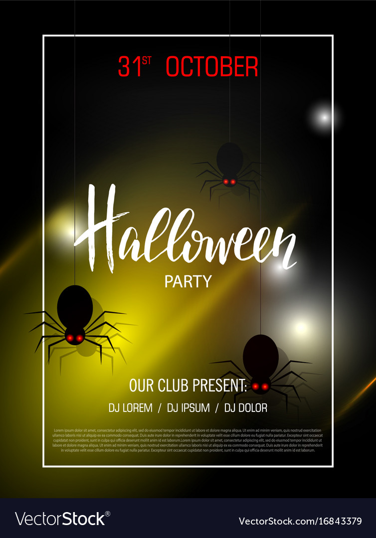 Happy halloween banner with light effect party