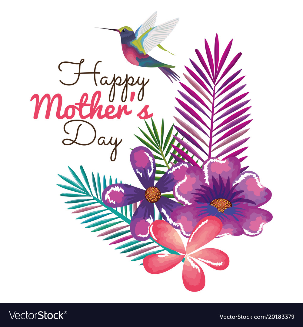 happy mothers day card with hummingbird and floral