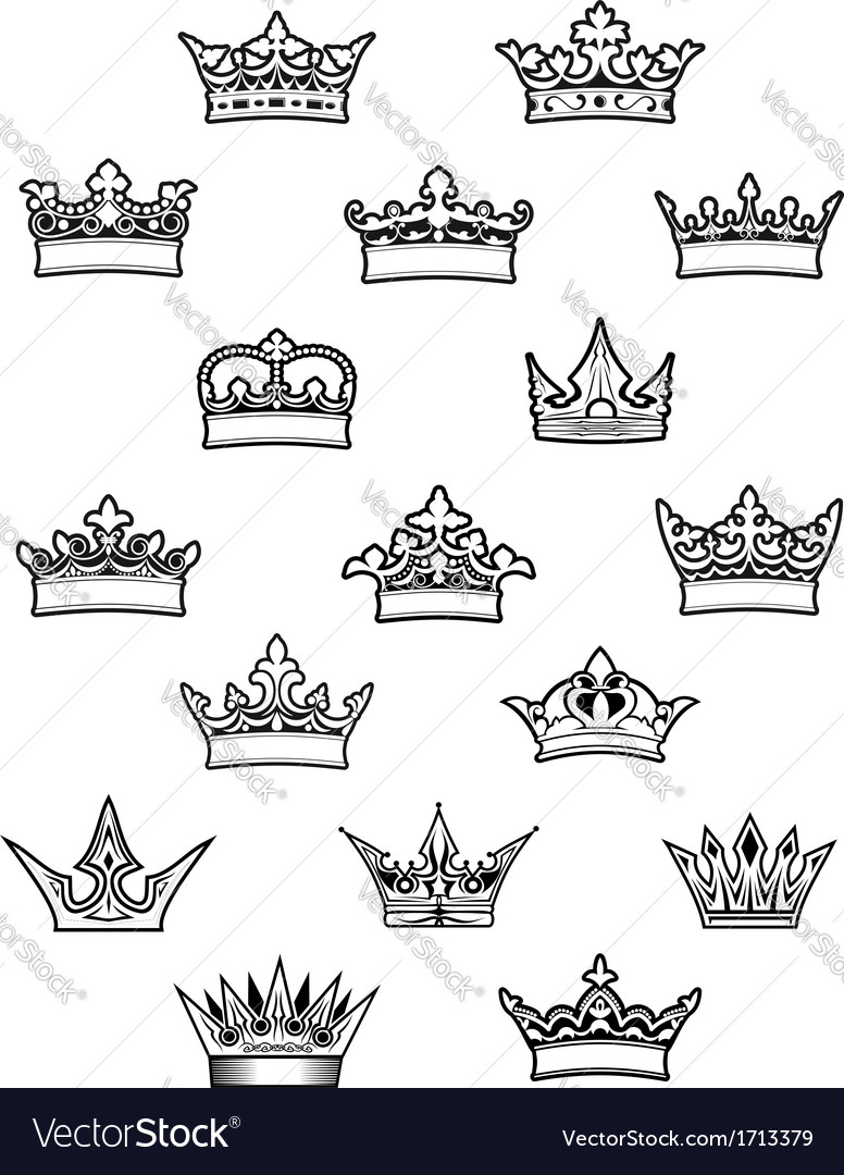 heraldic king and queen crowns set royalty free vector image