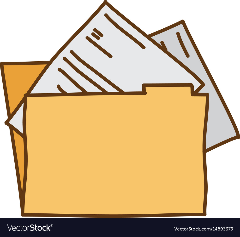 Light colored hand drawn silhouette of folder with vector image