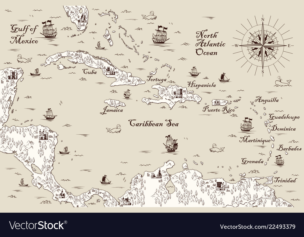 Old map of the caribbean sea Royalty Free Vector Image Caribbean Sea Map on