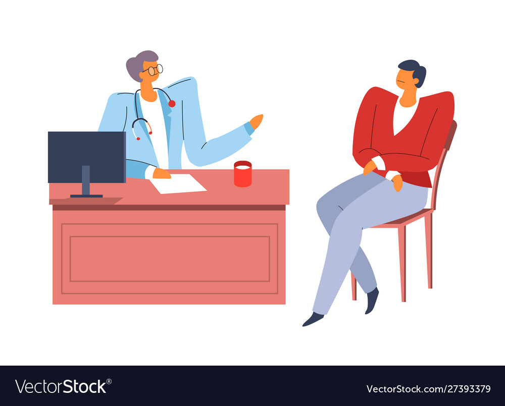 Patient at doctor office therapist with